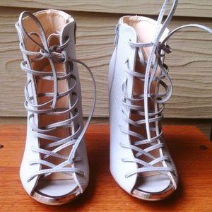 Qupid Shoes - Grey Qupid Lace Up Heels